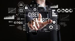 Cyber Security with businessman stock photo