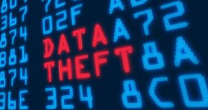 Cyber security buzzwords – data theft. Cyber security buzzwords – data theft - with blue numbers in background. Data safety and digital technology in royalty free illustration