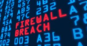 Cyber security buzzwords – firewall breach. Cyber security buzzwords – firewall breach - with blue numbers in background. Data safety and digital Stock Image