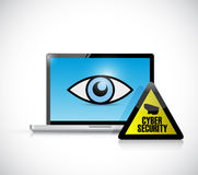 Cyber security computer laptop illustration Royalty Free Stock Image