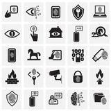 Cyber security and computer set on squares background for graphic and web design, Modern simple vector sign. Internet concept. Cyber security and computer icons stock illustration