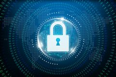 Cyber security concept with abstract technology backgrounds stock illustration