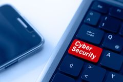 Cyber Security Concept in Blue and Red stock photography