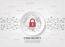 Closed Padlock protect world global network on binary code background. Cyber Security Concept : Closed Padlock protect world global network on binary code Stock Photography