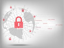 Closed padlock protect world global network. Cyber Security Concept : Closed padlock protect world global network on binary code white background Royalty Free Stock Photos