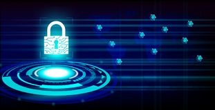 Closed padlock protect world global network on future technology background. Cyber Security Concept : Closed padlock protect world global network on future Stock Images