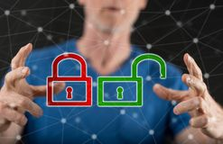 Concept of cyber security. Cyber security concept between hands of a man in background Stock Photo