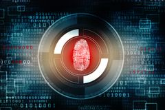 Cyber Security Concept, Concept of Internet Security, Shield on digital background. Security concept: fingerprint Scanning on digital screen. 3d render Royalty Free Stock Photography
