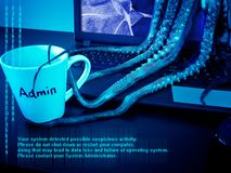 Laptop with broken screen infected by malware. Cyber security concept. Monstrous computer virus seize system daministartor`s mug. Laptop with broken screen royalty free stock photo