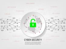 Padlock protect world global network on binary code background. Cyber Security Concept : Padlock protect world global network on binary code background Stock Photo