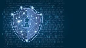 Cyber security concept: Shield on digital data background. illustration. Cyber security concept: Shield on digital data background. Illustrates cyber data Stock Photos