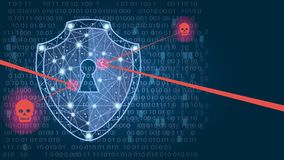 Cyber security concept: Shield on digital data background. illustration. Cyber security concept: Shield on digital data background. Illustrates cyber data Royalty Free Stock Photo