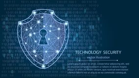 Cyber security concept: Shield on digital data background.vector illustration. Cyber security concept: Shield on digital data background. Illustrates cyber data Stock Image