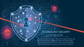 Cyber security concept: Shield on digital data background.vector illustration. Cyber security concept: Shield on digital data background. Illustrates cyber data Stock Photo