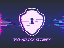 Cyber security concept: shield, glitch design. illustration. Cyber security concept: shield, glitch design. Illustrates cyber data security or information Royalty Free Stock Images