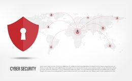 Shield on internet hacker background. Cyber Security Concept : Shield on internet hacker background Stock Images