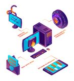 Cyber security 3d. Web transfer protection online safety wireless connection firewall antivirus private computer cloud. Vector isometric. Illustration of royalty free illustration