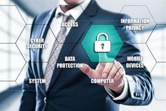 Cyber Security Data Protection Business Technology Privacy concept. On the hexagons and transparent honeycomb structure presentation screen. Man pressing button stock images