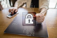 Cyber security, Data protection, information safety and encryption. Internet technology and business concept.  Virtual screen with padlock icons Stock Photos
