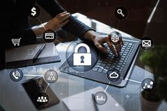 Cyber security, Data protection, information safety and encryption. Internet technology and business concept. Virtual screen with padlock icons stock photography