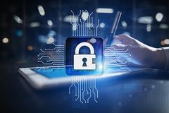 Cyber security, Data protection, information safety and encryption. internet technology and business concept. Virtual screen with padlock icons royalty free stock photo