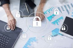 Cyber security, Data protection, information safety and encryption. internet technology and business concept. Virtual screen with padlock icons Royalty Free Stock Photos