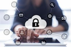Cyber security, Data protection, information safety and encryption. internet technology and business concept. Virtual screen with padlock icons stock images