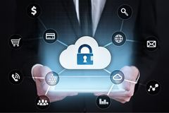 Cyber security, Data protection, information safety and encryption. internet technology and business concept. Virtual screen with padlock icons stock photo