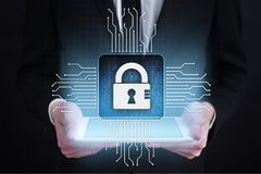 Cyber security, Data protection, information safety and encryption. internet technology and business concept. Virtual screen with padlock icons royalty free stock image