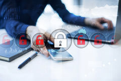 Cyber security, Data protection, information safety. internet technology concept. Cyber security, Data protection, information safety and encryption. internet Royalty Free Stock Images