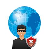 Cyber security design. Cartoon hacker man with earth planet and wrong shield icon over white background. cyber security concept. colorful design. illustration vector illustration
