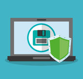 Cyber security design. Laptop computer with diskette and shield icon over blue background. colorful design. vector illustration Stock Image