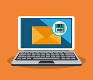 Cyber security design. Laptop computer with envelope and diskette icon over orange background. colorful design. vector illustration Stock Photography