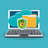 Cyber security design. Laptop computer with shield, cloud and file folder over blue background. colorful design. vector illustration Royalty Free Stock Photo