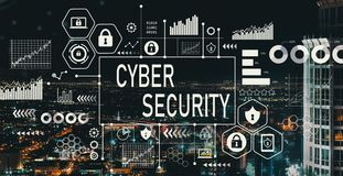 Cyber Security with downtown LA. Cyber Security with downtown Los Angeles at night royalty free illustration