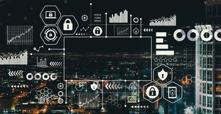 Cyber Security with downtown LA royalty free stock photography