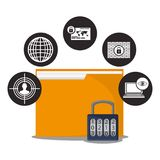 Cyber secuirty folder file padlock data. Cyber security folder file padlock data vector illustration eps 10 Stock Photo