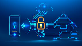 Cyber security future. Application on the mobile phone monitors the security of the house, car. Cloud technology provides the exchange of information between Stock Photo