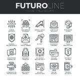 Cyber Security Futuro Line Icons Set Stock Images