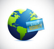 Cyber security globe and banner. Illustration design over a white background Stock Images