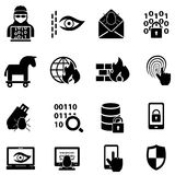 Cyber security, hacker, malware web icons Royalty Free Stock Photography