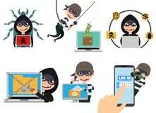 Cyber security hacker vector character set. Thief hacking computer stealing online password. And login information. Vector illustration royalty free illustration