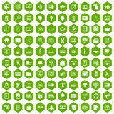 100 cyber security icons hexagon green. 100 cyber security icons set in green hexagon isolated vector illustration Stock Photography