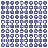 100 cyber security icons hexagon purple. 100 cyber security icons set in purple hexagon isolated vector illustration Stock Illustration