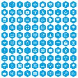 100 cyber security icons set blue. 100 cyber security icons set in blue hexagon isolated vector illustration Royalty Free Stock Photo
