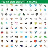 100 cyber security icons set, cartoon style. 100 cyber security icons set in cartoon style for any design illustration royalty free illustration