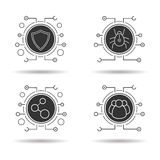 Cyber security icons set Stock Images