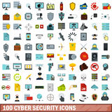 100 cyber security icons set, flat style Royalty Free Stock Photo