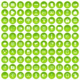 100 cyber security icons set green circle. Isolated on white background vector illustration royalty free illustration