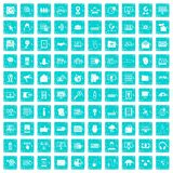 100 cyber security icons set grunge blue. 100 cyber security icons set in grunge style blue color isolated on white background vector illustration Royalty Free Stock Image
